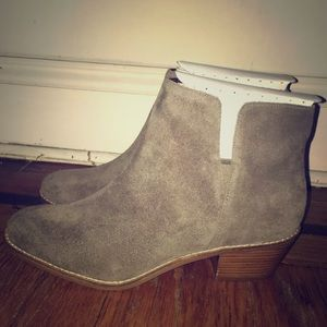 Cole Haan Grey/Morel  Suede Abbot Ankle Bootie